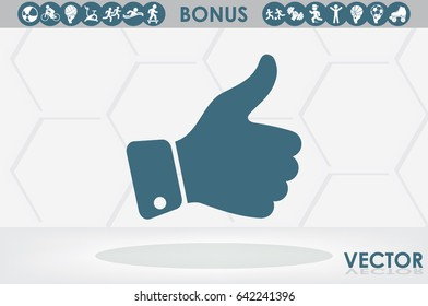 thumb up icon vector illustration eps10. Isolated badges for website or app - stock infographics