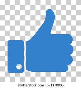 Thumb Up icon. Vector illustration style is flat iconic symbol, cobalt color, transparent background. Designed for web and software interfaces.