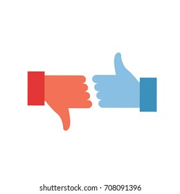 thumb icons. like and dislike icon. colored vector illustration symbol. .