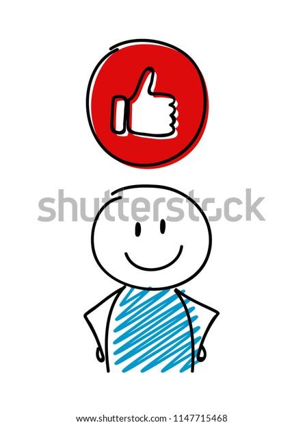Thumb - like (social media) icon with stickman. Vector.