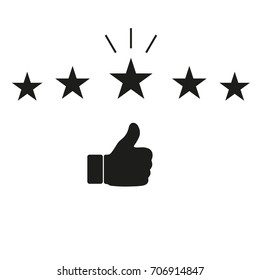 Thumb up on hand pointer rating on white background