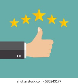 Thumb up pointing at positive five star feedback. Rating, evaluation, success, feedback, review, quality and management concept. Vector illustration EPS10