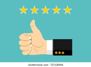 Thumb up pointing at positive five star feedback. Rating, evaluation, success, feedback, review, quality and management concept. Vector illustration