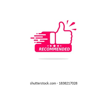 Thumb up for recommended recommendation logo with five stars. Vector illustration