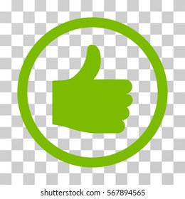 Thumb Up rounded icon. Vector illustration style is flat iconic symbol inside a circle, eco green color, transparent background. Designed for web and software interfaces.