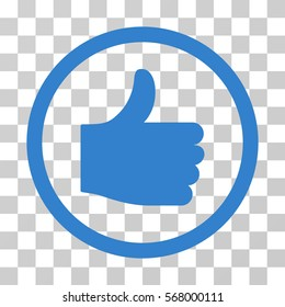 Thumb Up rounded icon. Vector illustration style is flat iconic symbol inside a circle, cobalt color, transparent background. Designed for web and software interfaces.