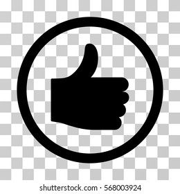 Thumb Up rounded icon. Vector illustration style is flat iconic symbol inside a circle, black color, transparent background. Designed for web and software interfaces.