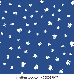 Thumb up seamless background. Facebook like abstract. Vector illustration