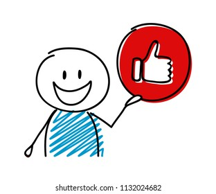 Thumb up (social media) icon with happy stickman. Vector.
