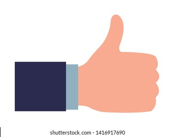 thumb up with a suit sleeve icon cartoon isolated vector illustration graphic design