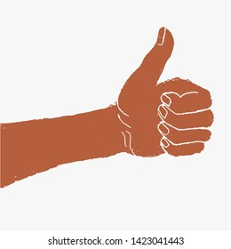 Thumb up symbol, finger up vector illustration.
