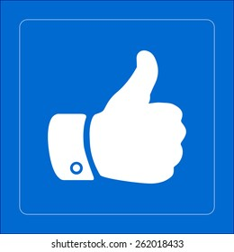 Thumb up symbol. Flat design style.