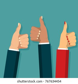 Thumb up symbol set flat style, Cheering business people, Hands show finger Like sign. Vector