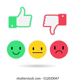 Thumb up, thumb down applique vector illustration. Emoticon emoji set. Happy and bad face for your web site design, logo, app. Vector illustration EPS10