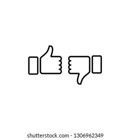 thumb up, thumb down, hand vector icon isolated on white background. icon approval, not approval, vote for and against, quality mark, yes, no