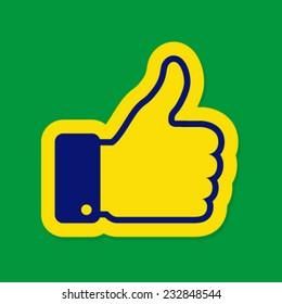 Thumb up using Brazil flag colors 2016, vector illustration