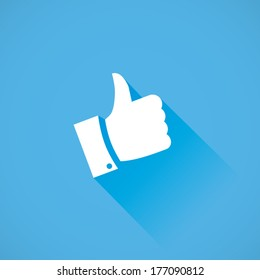 Thumb up vector icon flat design with long cool shadow