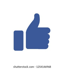 Thumb Up vector icon. Style is flat symbol, cobalt color, rounded angles, white background. - stock vector