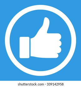 Thumb Up vector icon. Style is flat rounded symbol, white color, rounded angles, blue background.