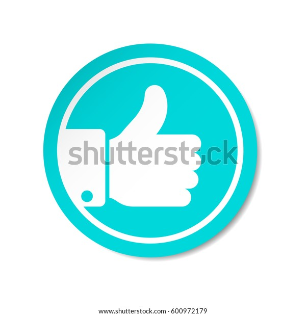 Thumb Up vector icon. Style is flat rounded symbol, blue color, rounded angles, white background.