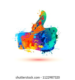 thumb up vector icon of watercolor splash paint