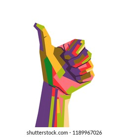 thumb up with WPAP( wedhas pop art portrait ) style illustration