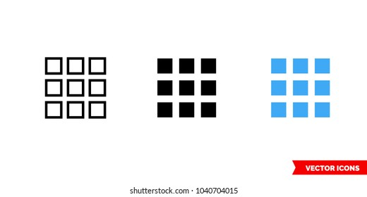 Thumbnail icon of 3 types: color, black and white, outline. Isolated vector sign symbol.
