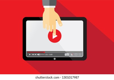 Thumbnail for opening video tutorials study and learning background. Video conference and webinar icon, internet and video services. Vector illustration EPS.8 EPS.10