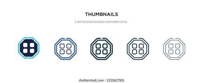 thumbnails icon in different style vector illustration. two colored and black thumbnails vector icons designed in filled, outline, line and stroke style can be used for web, mobile, ui