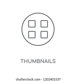 Thumbnails linear icon. Thumbnails concept stroke symbol design. Thin graphic elements vector illustration, outline pattern on a white background, eps 10.