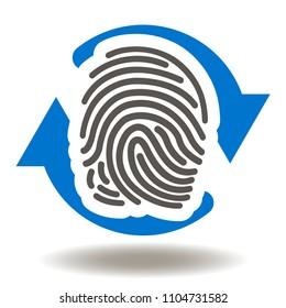Thumbprint Circular Arrows Icon Vector. Scanning Fingerprint Illustration. Authorization Identification Logo. Scanning Verification Biometri? Data Symbol.