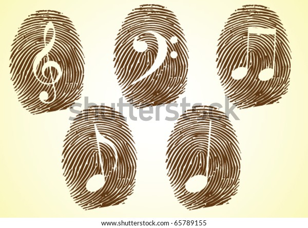 A Thumbprint showing Musicale notes and symbols