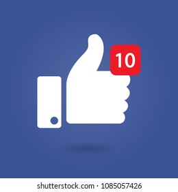 Thumbs up 10 like social network Facebook, icon with new appreciation number symbol. Vector illustration. EPS 10