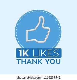 Thumbs up 3D icon with 1000 likes in vector graphics