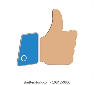 Thumbs up 3D icon in vector graphics