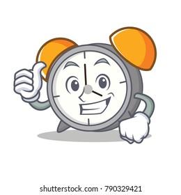 Thumbs up alarm clock character cartoon