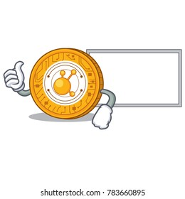 Thumbs up with board BitConnect coin character cartoon