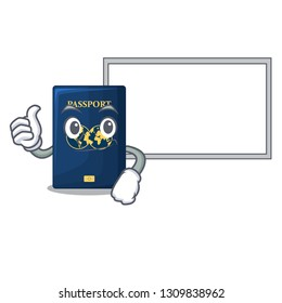 Thumbs up with board blue passport in the cartoon form