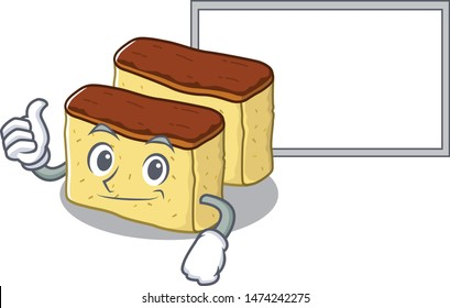 Thumbs up with board castella cake isolated in the cartoon