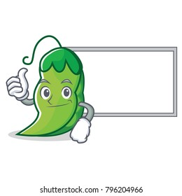 Thumbs up with board peas character cartoon style