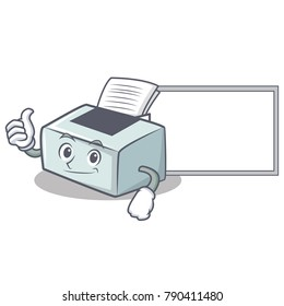 Thumbs up with board printer character cartoon style