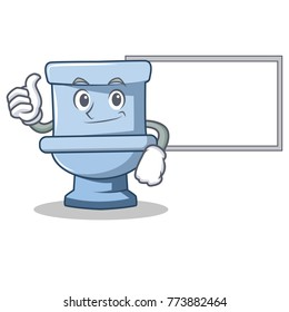 Thumbs up with board toilet character cartoon style