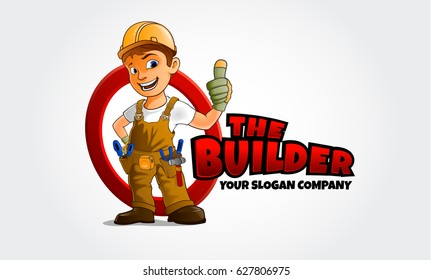 Thumbs up builder man character. Vector logo illustration