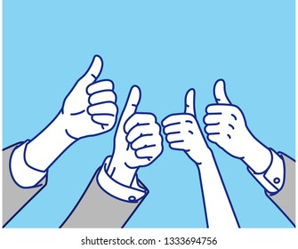 Thumbs Up Business Scene , vector illustration