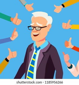 Thumbs Up Businessman Vector. Professional Office Worker. Public Respect. Show Approval Gesture. Business Illustration