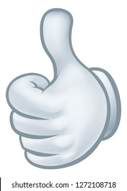 A thumbs up cartoon glove hand icon graphic