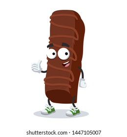 thumbs up cartoon sweet milk chocolate bar character mascot smiling on white background