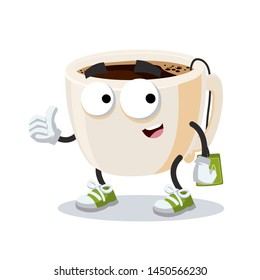 thumbs up cartoon tea cup with tea bag character mascot smiling on white background