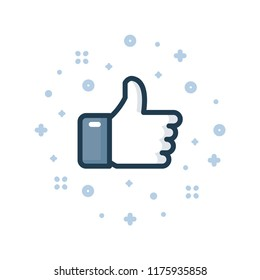 Thumbs up color line icon. Like button vector illustration.