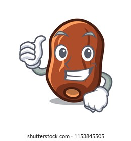 Thumbs up dates fruit character cartoon